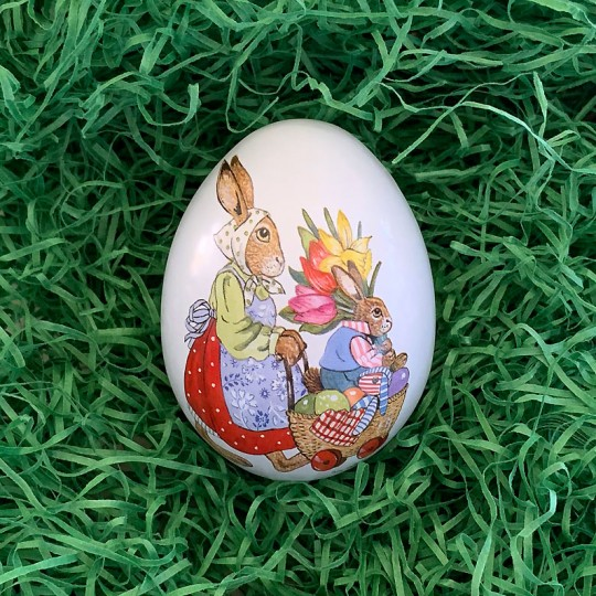 "Small Bunnies with Flowers Eggs Metal Easter Egg Tin ~ 2-3/4"" tall"