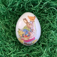 """Small Bunny with Hen Metal Easter Egg Tin ~ 2-3/4"""" tall"""