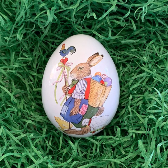"Small Bunny with Egg Backpack Metal Easter Egg Tin ~ 2-3/4"" tall"