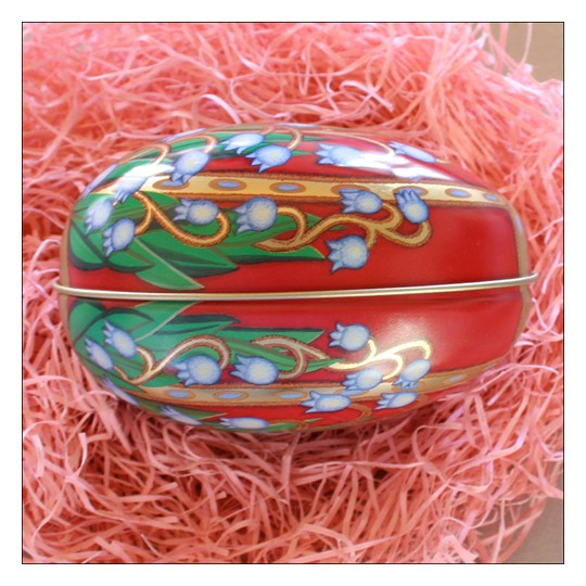 """Russian Style Lilies of the Valley Metal Easter Egg Tin ~ 4-1/4"""" tall"""