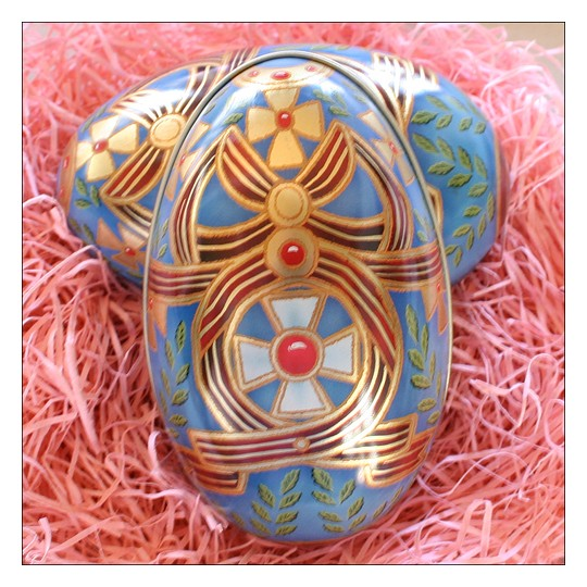 "Russian Style Crosses and Ribbons Metal Easter Egg Tin ~ 4-1/4"" tall"