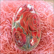 "Red Roses Metal Easter Egg Tin ~ 4-1/4"" tall"