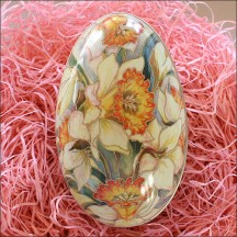 "Yellow Daffodils Metal Easter Egg Tin ~ 4-1/4"" tall"