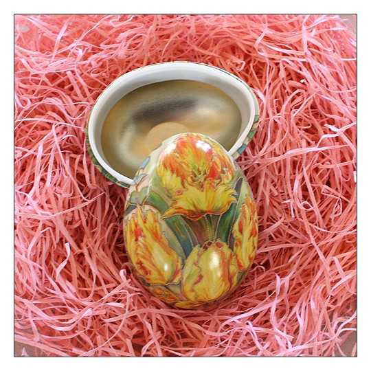 "Yellow Tulips Petite Metal Easter Egg Tin ~ 2-3/4"" tall"