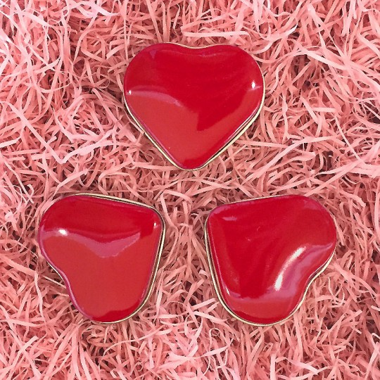 """Set of 3  Red Heart Shaped Valentine Tins ~ 2"""" across"""