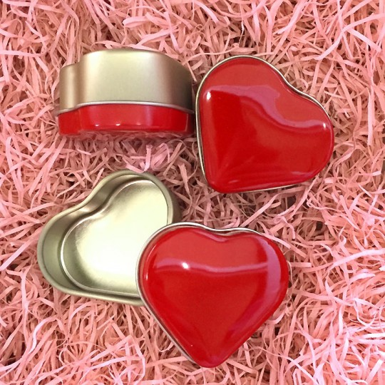"Set of 3  Red Heart Shaped Valentine Tins ~ 2"" across"