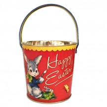 "Orange Easter Bunny Metal Bucket ~ 4-5/8 x 4-7/8"" ~ England"