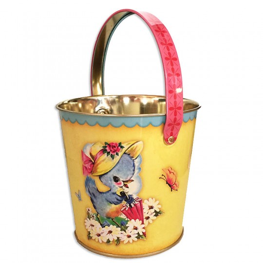 "Yellow Easter Lamb Metal Bucket ~ 4-5/8 x 4-7/8"" ~ England"