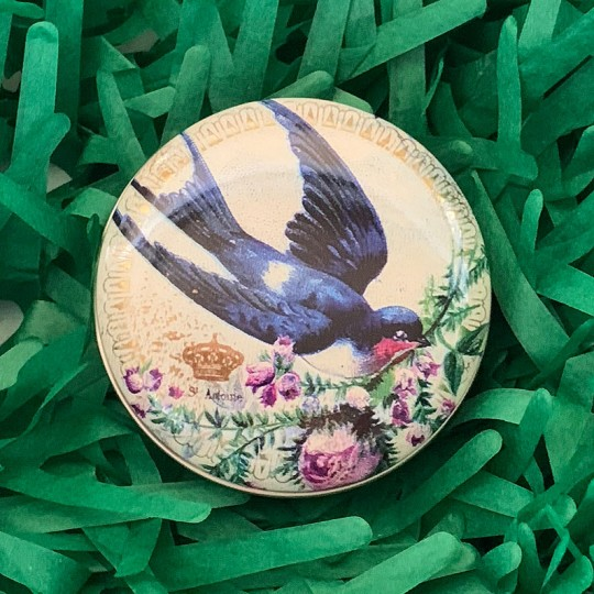 "Round Bird and Flowers Tin ~ 2-1/2"" across"
