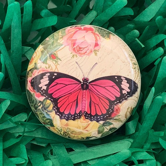 "Round Butterfly and Roses Tin ~ 2-1/2"" across"