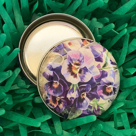 "Round Pansies Tin ~ 2-1/2"" across"