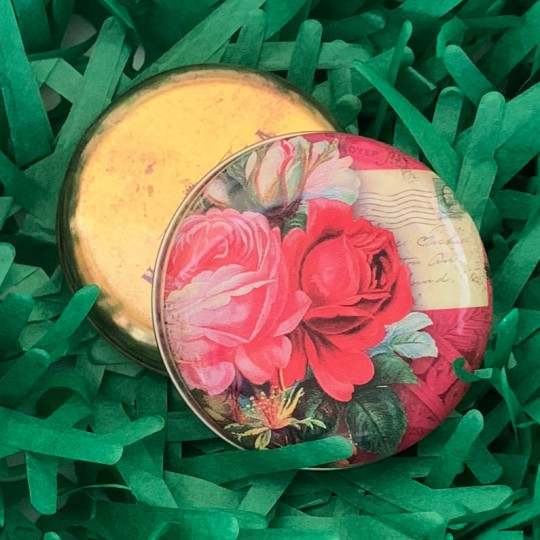 "Round Roses Ephemera Tin ~ 2-1/2"" across"