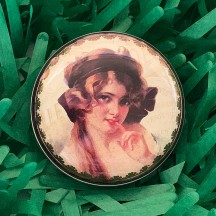 "Round Victorian Lady Tin ~ 2-1/2"" across"