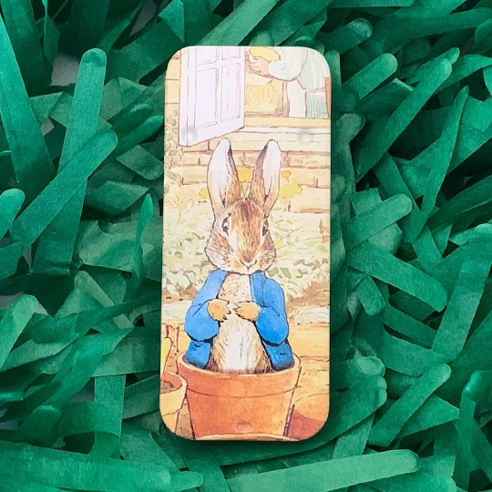 "Small Peter Rabbit in Flower Pot Sliding Easter Tin ~ 3-1/8 x 1-3/8"" ~ England"