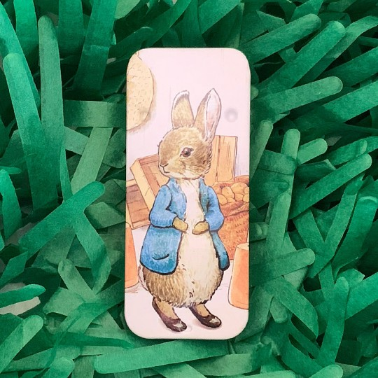 """Small Peter Rabbit in Potting Shed Sliding Easter Tin ~ 3-1/8 x 1-3/8"""" ~ England"""