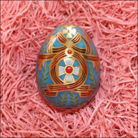 """Russian Style Crosses and Ribbons Metal Easter Egg Tin ~ 2-3/4"""" tall"""