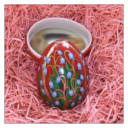 "Russian Style Lilies of the Valley Metal Easter Egg Tin ~ 2-3/4"" tall"