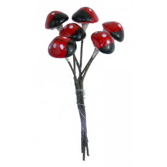 6 Hand Painted Composition Ladybug Stamen