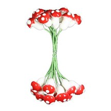 20 Large Compostition Mushroom Stamen from Germany ~ Red
