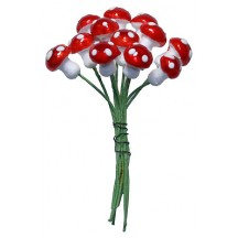 12 Small Spun Cotton Mushrooms from Germany ~ 10mm Metallic Bright Red