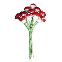 12 Small Spun Cotton Mushrooms from Germany ~ 10mm Ruby Red