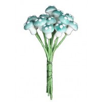 12 Small Spun Cotton Mushrooms from Germany ~ 10mm Sky Blue