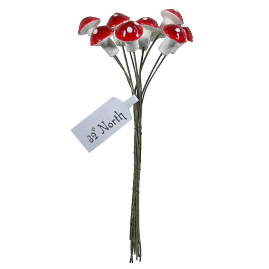 10 Small Red Spun Cotton Woodland Pixie Mushroom ~ Czech Republic