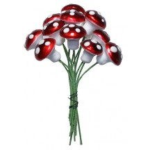 12 Medium Spun Cotton Mushrooms from Germany ~ 14mm Metallic Dark Red