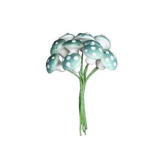 12 Medium Spun Cotton Mushrooms from Germany ~ 14mm Sky Blue