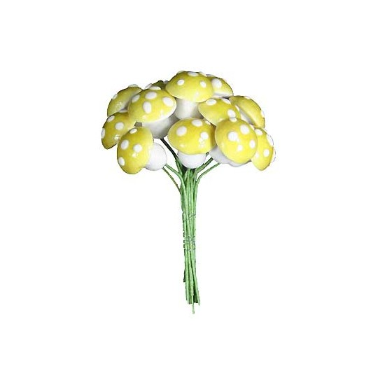 12 Medium Spun Cotton Mushrooms from Germany ~ 14mm Lemon Yellow