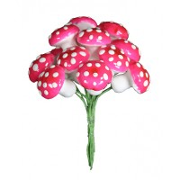 12 Large Spun Cotton Mushrooms from Germany ~ 18mm Bright Pink