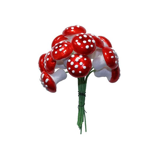 12 Large Spun Cotton Mushrooms from Germany ~ 18mm Metallic Bright Red