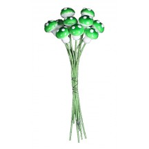 10 Small Spun Cotton Mushrooms from Germany ~ 10 mm Green ~ Long Stems