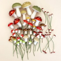 48 Mixed Spun Cotton Mushrooms ~ Christmas Mix