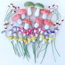 48 Mixed Spun Cotton Mushrooms ~ Sunset Mix
