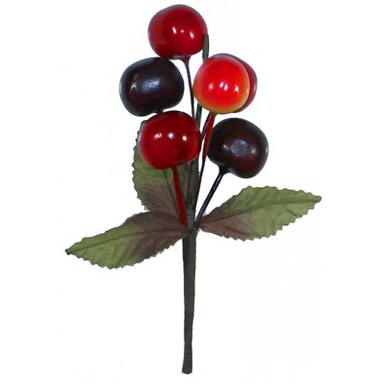 Mixed Cherry Cluster Millinery Sprig