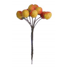 "10 Half Ripe Spun Cotton Textured Strawberries ~ 5/8"" ~ Czech Republic"