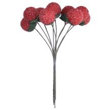 """10 Red Spun Cotton Textured Strawberries ~ 7/8"""" ~ Czech Republic"""