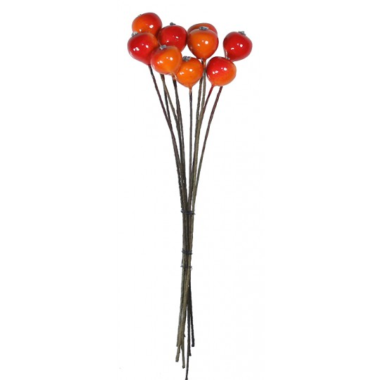 """10 Tiny Orange and Red Lacquered Apples ~ 3/8"""" ~ Czech Republic"""