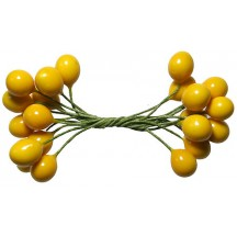 """Glossy Yellow Berry Stamen from Germany ~ 3/8"""""""