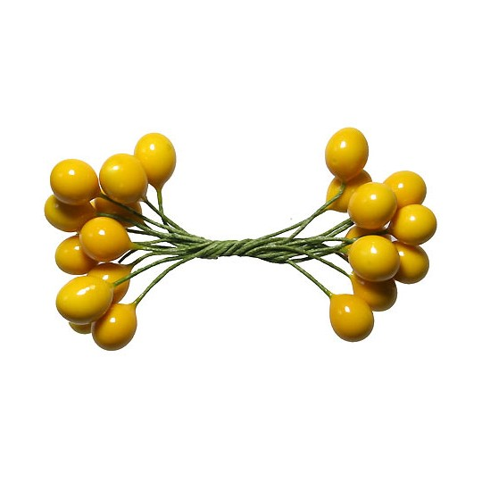 Glossy Yellow Berry Stamen from Germany ~ 3/8""