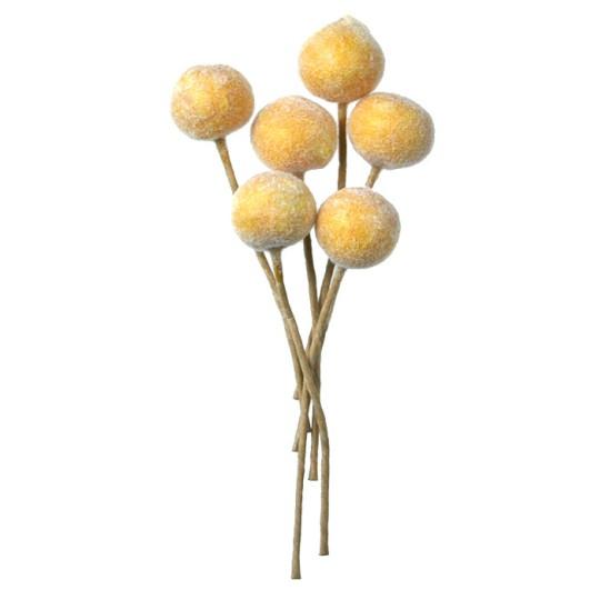 "6 Fuzzy Yellow Millinery Peaches ~ 5/8"" ~ Germany"