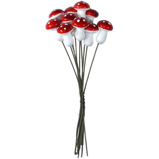 10 Red Spun Cotton Woodland Pixie Mushroom ~ Czech Republic
