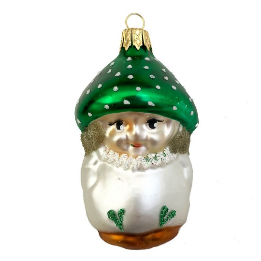 """Blown Glass Green Cap Mushroom Boy Ornament ~ Czech Repub. ~ 3"""" long"""