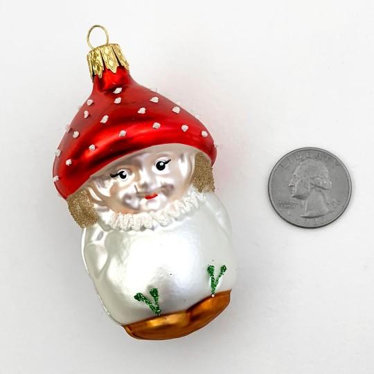 "Blown Glass Red Cap Mushroom Boy Ornament ~ Czech Repub. ~ 3"" long"