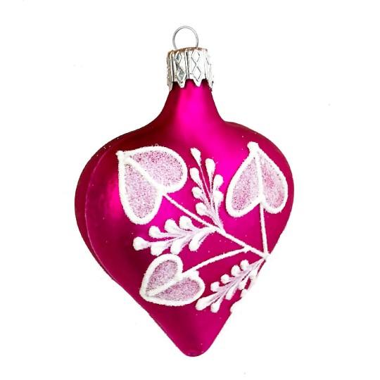 """Hot Pink Floral Heart Ornament ~ Czech Republic ~ 2-1/2"""" tall"""
