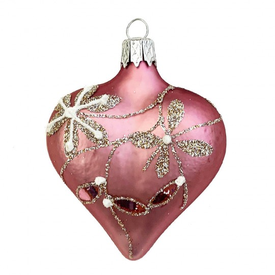 """Rose Pink Floral Heart Ornament ~ Czech Republic ~ 2-1/2"""" tall"""