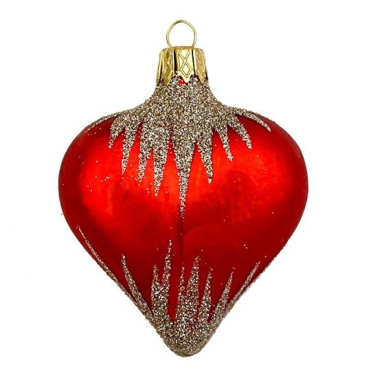 """Red Glittered Heart Ornament ~ Czech Republic ~ 2-1/2"""" tall"""