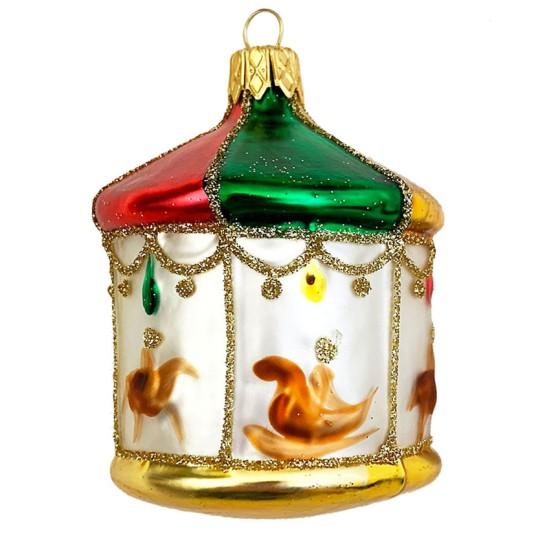 "Colorful Carousel Blown Glass Ornament ~ Czech Republic ~ 3"" tall"