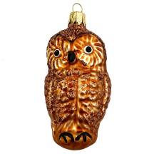 """Brown Owl Blown Glass Ornament ~ Czech Republic ~ 3"""" tall"""